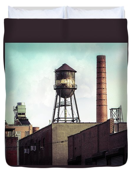 Duvet Cover featuring the photograph New York Water Towers 19 - Urban Industrial Art Photography by Gary Heller
