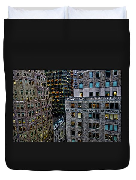 Duvet Cover featuring the photograph New York Windows by Joan Reese