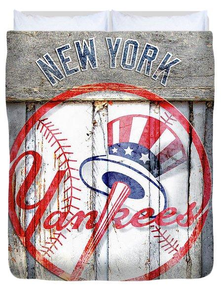 New York Yankees Top Hat Rustic Duvet Cover