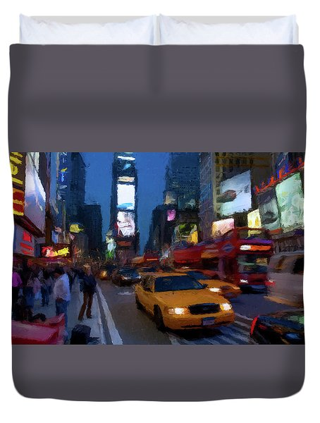 Duvet Cover featuring the painting New York Yellow Cab by David Dehner