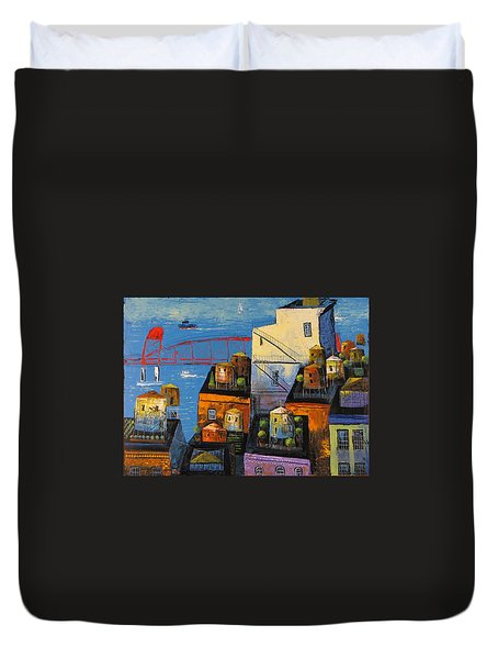 Duvet Cover featuring the painting New York,red Bridge by Mikhail Zarovny