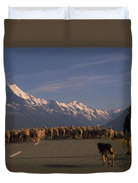 New Zealand Mt Cook Duvet Cover by Travel Pics