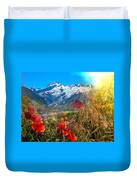 New Zealand Southern Alps Montage Duvet Cover