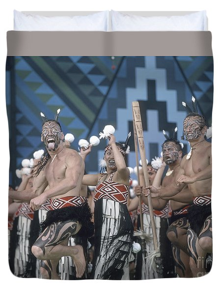 Duvet Cover featuring the photograph New Zealand,north Island,  Rotorua Arts Festival,dance And Singi by Juergen Held