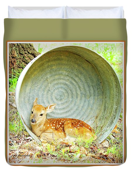 Newborn Fawn Finds Shelter In An Old Washtub Duvet Cover by A Gurmankin