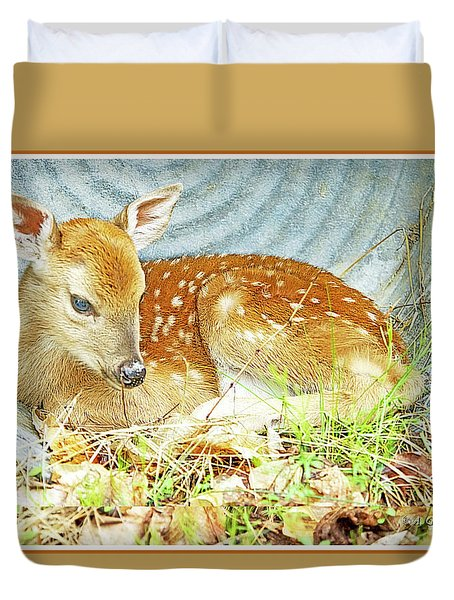 Newborn Fawn Takes Shelter In An Old Washtub II Duvet Cover