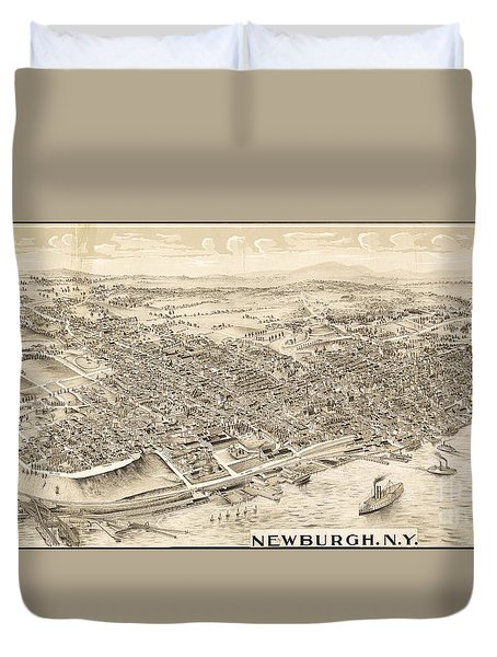 Newburgh Ny Birds Eye Drawing Duvet Cover