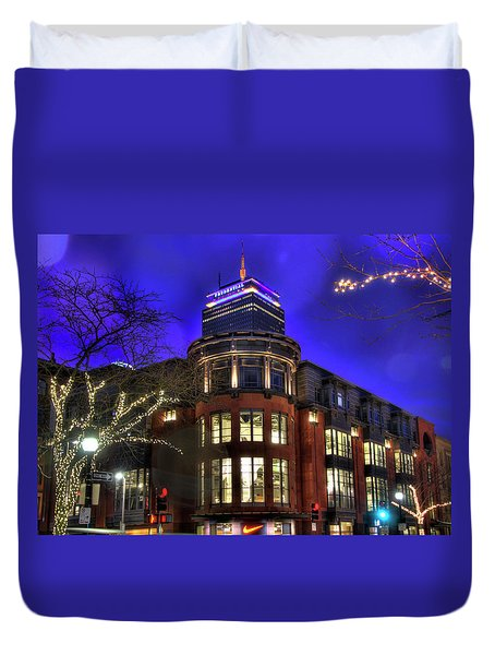 Duvet Cover featuring the photograph Newbury Street And The Prudential - Back Bay - Boston by Joann Vitali