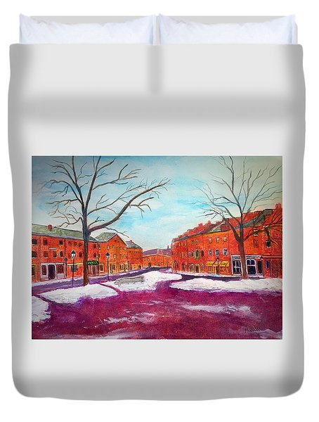 Newburyport Ma In Winter Duvet Cover