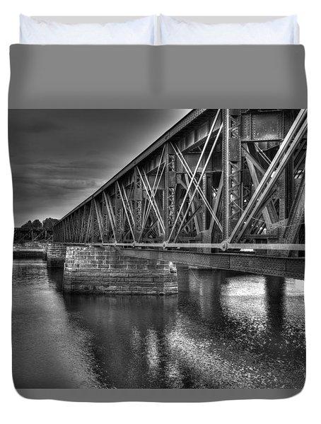 Newburyport Train Trestle Bw Duvet Cover