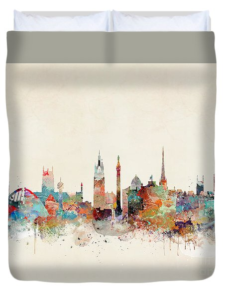 Duvet Cover featuring the painting Newcastle England by Bri B