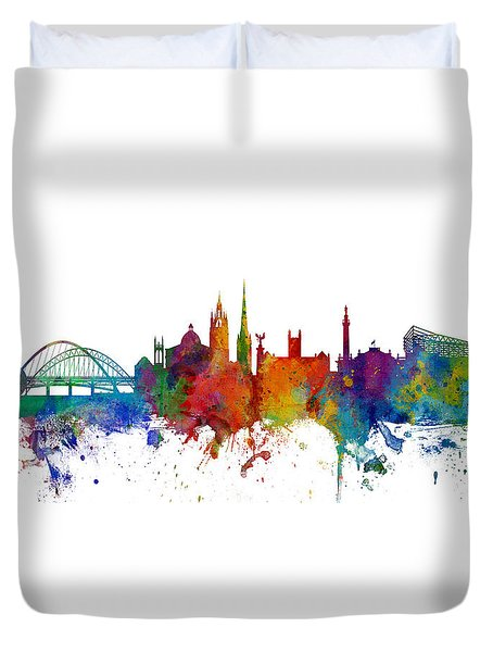 Newcastle England Skyline Custom Panoramic Duvet Cover