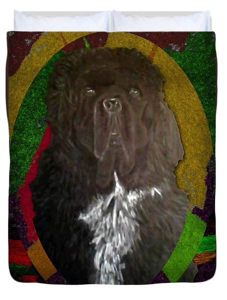 Duvet Cover featuring the drawing Newfie Colors by Michelle Audas