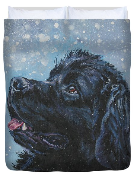 Newfoundland In Snow Duvet Cover
