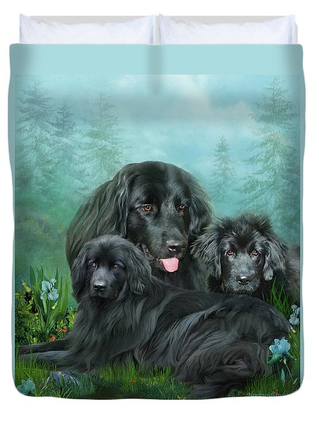Duvet Cover featuring the mixed media Newfoundlander by Carol Cavalaris