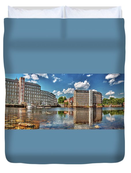 Duvet Cover featuring the photograph Newmarket Mills by Wayne Marshall Chase