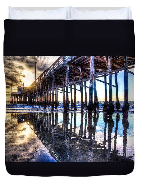 Newport Beach Pier - Reflections Duvet Cover