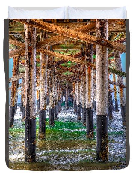 Newport Beach Pier - Summertime Duvet Cover by Jim Carrell