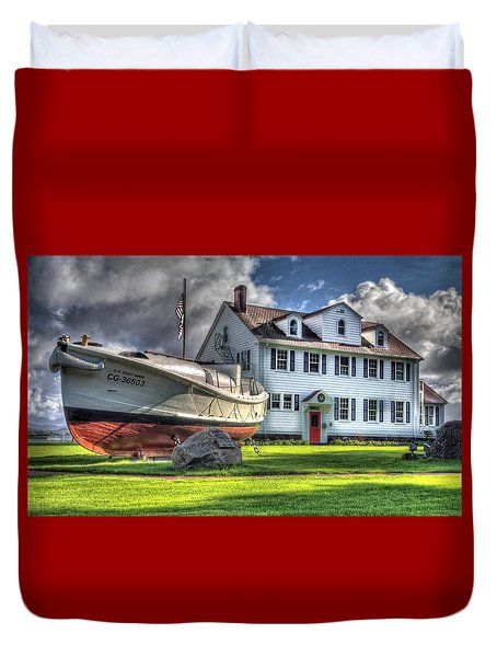 Newport Coast Guard Station Duvet Cover by Thom Zehrfeld