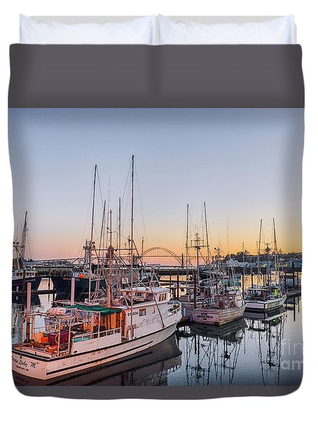 Newport Harbor At Dusk Duvet Cover