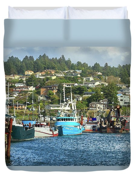 Duvet Cover featuring the digital art Newport Harbor by James Eddy