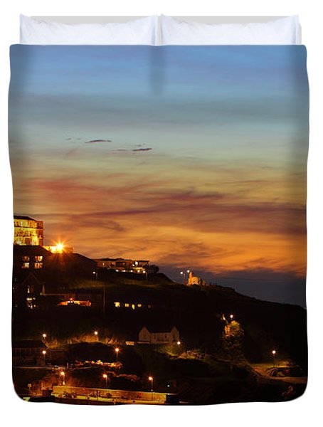 Newquay Harbor At Night Duvet Cover