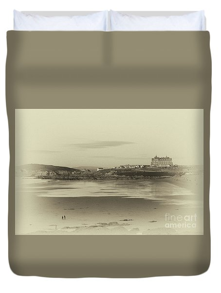 Newquay With Old Watercolor Effect  Duvet Cover by Nicholas Burningham