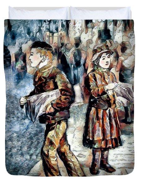 Duvet Cover featuring the digital art Newsboy by Pennie McCracken