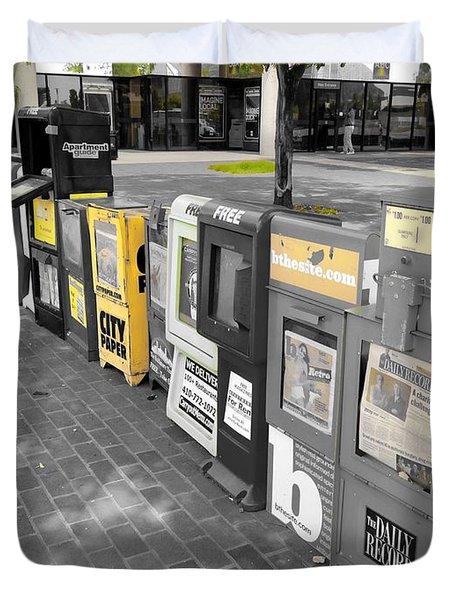 Newspaper Boxes Duvet Cover
