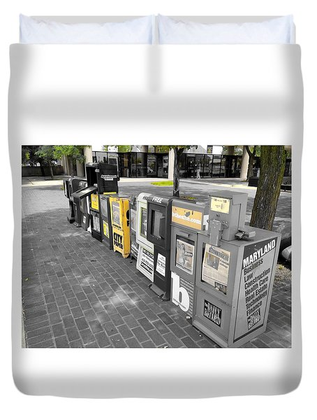 Newspaper Boxes Duvet Cover