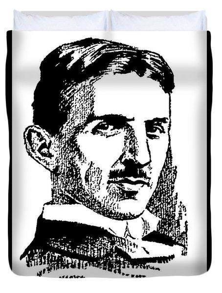 Duvet Cover featuring the digital art Newspaper Nikola Tesla  by Daniel Hagerman