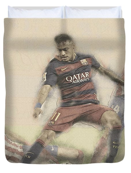 Neymar Fight For The Bal Duvet Cover by Don Kuing
