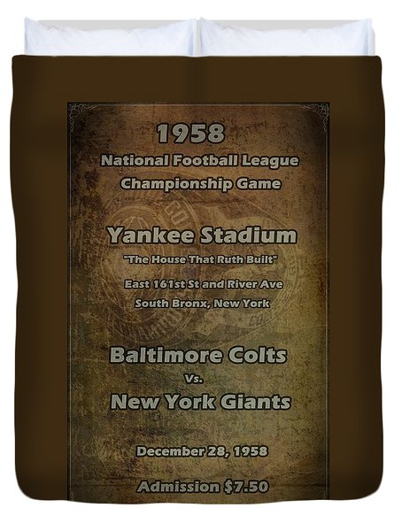 Nfl Championship Game 1958 Duvet Cover by David Dehner