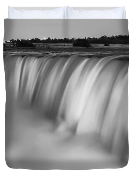 Duvet Cover featuring the photograph Niagara Falls At Dusk Black And White by Adam Romanowicz