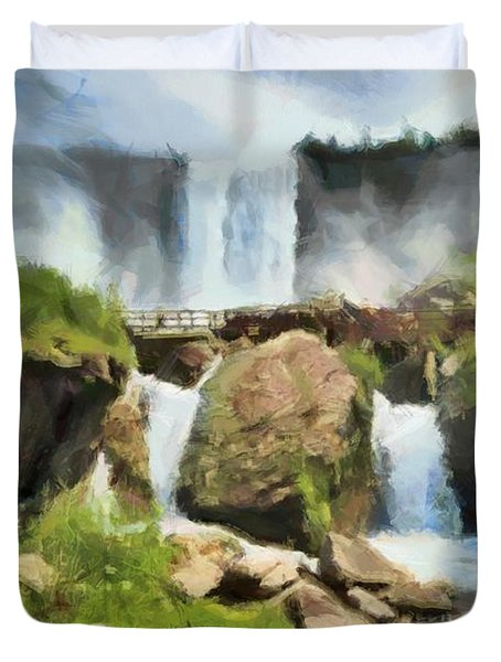 Niagara Falls Cave Of The Winds Duvet Cover