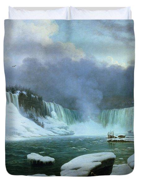 Niagara Falls Duvet Cover by Hippolyte Victor Valentin Sebron