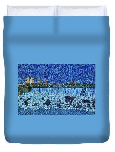 Niagara Falls - Night Duvet Cover by Micah Mullen