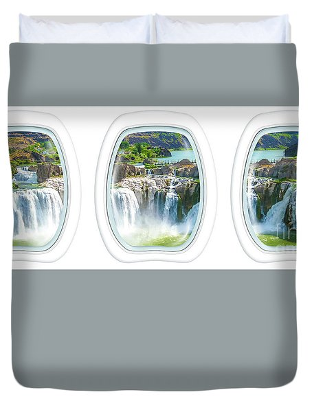 Niagara Falls Porthole Windows Duvet Cover