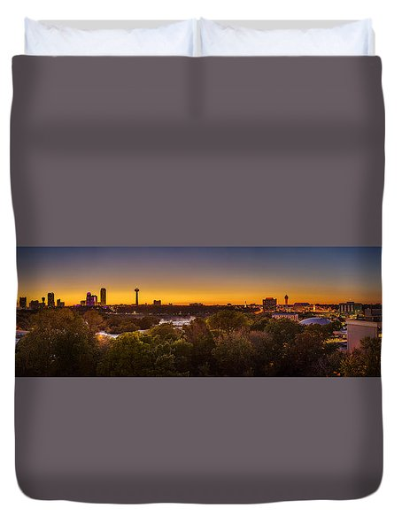 Duvet Cover featuring the photograph Niagara Falls Twilight From The 9th Floor by Chris Bordeleau