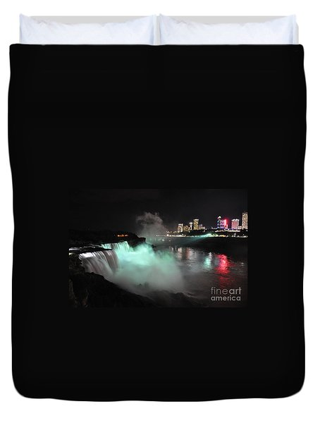 Duvet Cover featuring the photograph Niagara Night Lights by Gina Savage