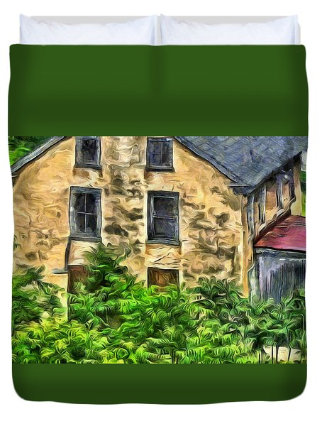 Duvet Cover featuring the mixed media Niccolo by Trish Tritz