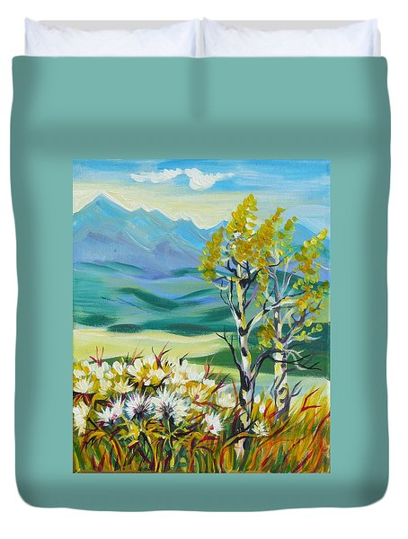 Duvet Cover featuring the painting Nice Autumn Day by Anna  Duyunova