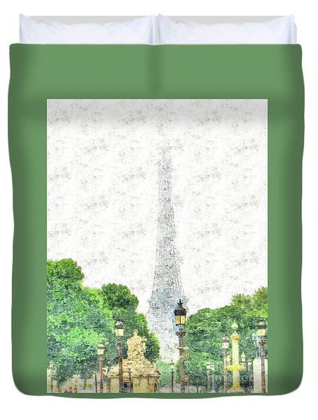Duvet Cover featuring the drawing Nice Paris by Yury Bashkin