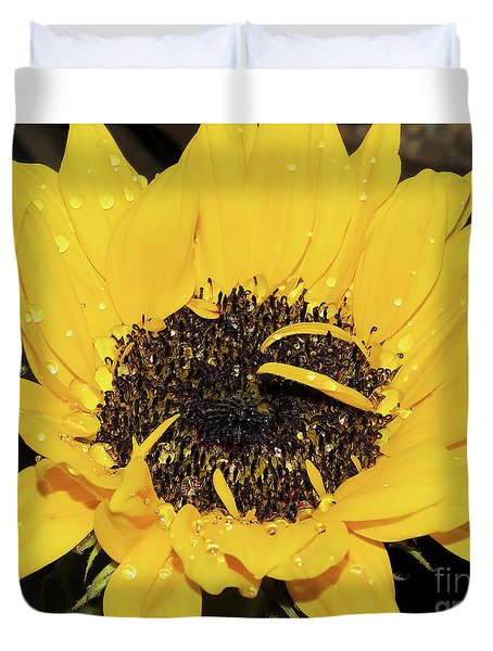 Duvet Cover featuring the photograph Nice Sunflower by Elvira Ladocki