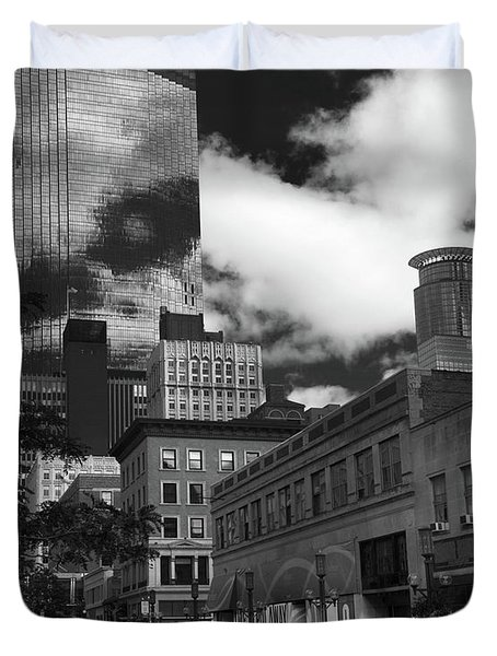 Nicollet Mall Minneapolis Black White Duvet Cover