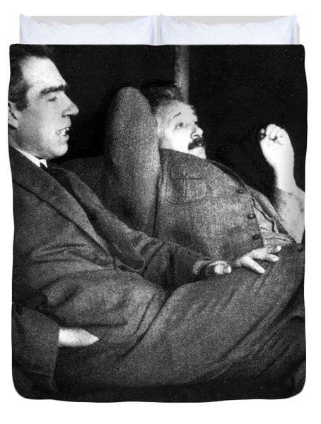 Niels Bohr And Albert Einstein Duvet Cover