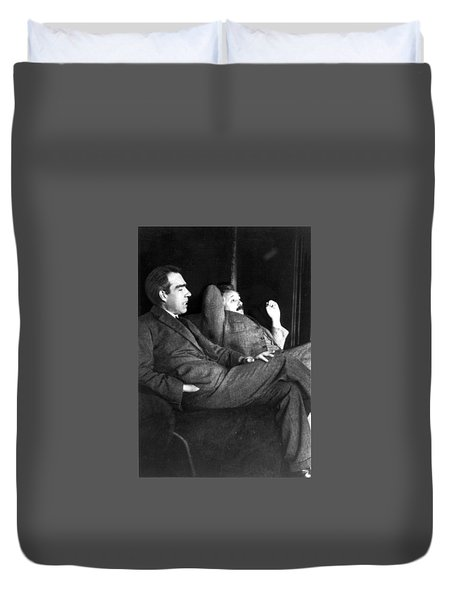 Niels Bohr And Albert Einstein Duvet Cover