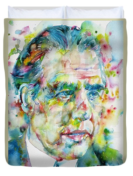 Duvet Cover featuring the painting Niels Bohr - Watercolor Portrait by Fabrizio Cassetta