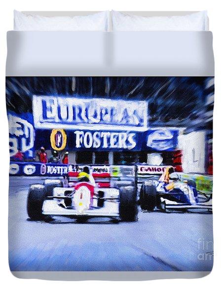 Nigel Mansell V Ayrton Senna  Duvet Cover