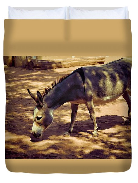 Duvet Cover featuring the photograph Nigerian Donkey by Jan Amiss Photography
